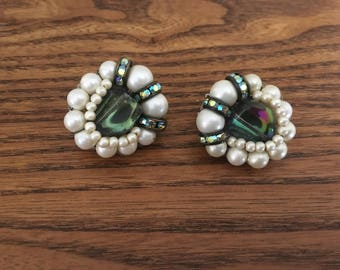 Hobe Faux Pearl, Fluorite Glass and Green AB Crystal Cluster Beaded Earrings 1147