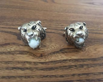 SWANK Gold Lion with Crystal Ball Cuff Links 1204