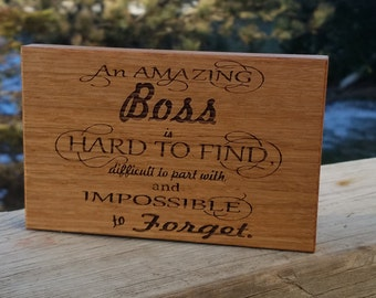 Gift For Boss, Engraved Wood Plaque, CEO Desk Decor, Gift Wrapped