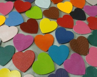 Leather Hearts, 5 Sizes 15mm. 20mm. 25mm.30mm., 40mm., Mixed Colors, Leather Hearts Die Cut, Hearts Die Cut, Hearts Style, Hearts Shape.