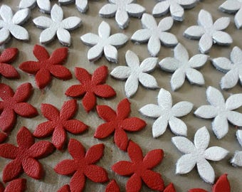 Leather Flowers, 50 Pcs, 15 mm. 20 mm.  25 mm., Red & White Pearl, Leather Flowers Die Cut, Flowers Decoration, DIY Projects.