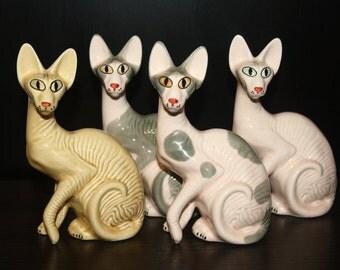 Sphynx cat  figurine ceramics handmade,  statuette porcelain