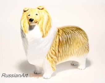 Collie, sheltie, Shetland Sheepdog dog ceramic figurine handmade statuette