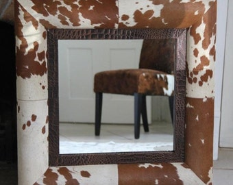 Cowhide leather mirror, square mirror, genuine cowhide, wall mirror, leather mirror, home decor.