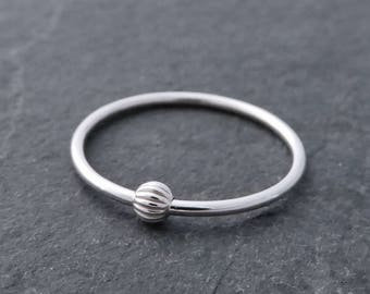 Thin Sterling Silver Fidget Ring - Petite Stackable Silver Fidget Ring, Worry Ring - Silver Spinning Bead Ring, Small Bead Ring