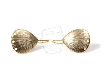ERG-231-MG/2PCS/Textured Teardrop Hook Earring/7mm x 10mm/Matte Gold Plated over Brass