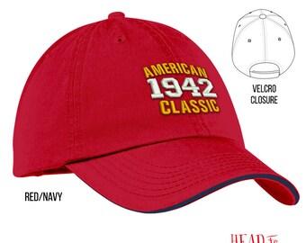 75th Birthday, 1942 Birthday, 75th Birthday Gift, American Classic Embroidered Hat, 75th Birthday Idea, 75 Years Old, 75 Birthday Gift
