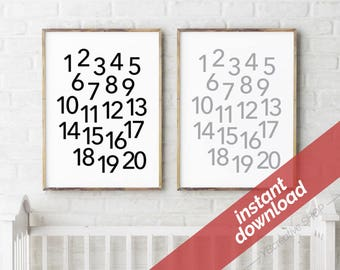 123 printable instant download > monochrome number poster / nursery decor / playroom print