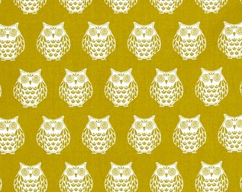 Papillon Owls Mustard Yellow Chartreuse Owl Cotton Fabric from the Papillon collection by Makower