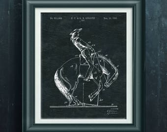Bucking Bronco Patent Rodeo Art Horse Ranch Wall Art Rodeo Artwork Rodeo Decoration Wild West Decor Rodeo Poster Gift 4 Rodeo Rider PP 7007