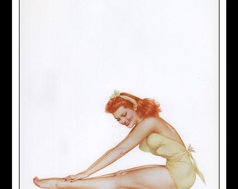 "Alberto Vargas Vintage Pinup Illustration Sexy Nude Pinup Mature Wall Art Deco Double Sided Book Print 9"" x 12.75"" AV01"