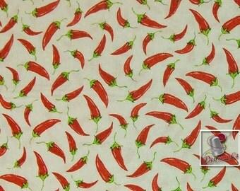 Cinco de Mayo, by Greta Lynn for Kansas, piment, white, FQ, half-yard, by the yard, Multiple quantity cut in one piece, 100% Cotton