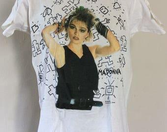 Vtg 1985 Madonna T-Shirt White S/M 80s Screen Stars New Wave Pop Music