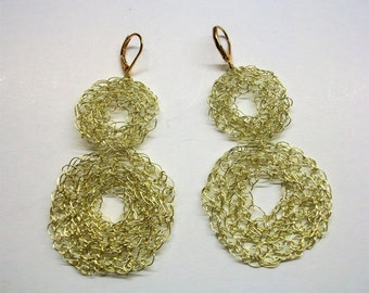 Gold wire knitted dangle earrings, gold crochet drop earrings, gold wire crochet earrings