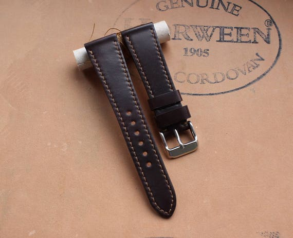 20/16mm Colour #8 Horween Shell Cordovan watch strap - lined and full stitching