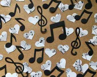 150 white Music and heart themed Pieces, music sheets, black card, treble clef, music notes
