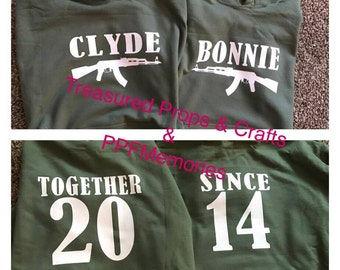 Married shirts, Bonnie & Clyde shirts, together since shirts, couple shirts, Christmas gift, Wedding gift, Matching shirts