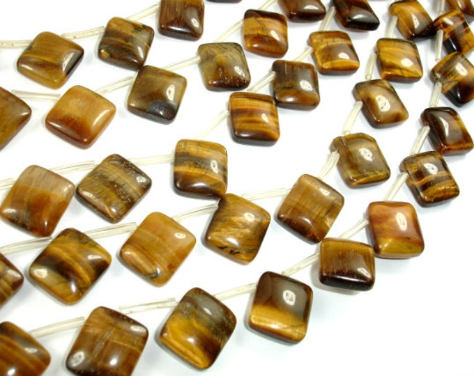 Yellow Tiger Eye Beads, 10x12mm Rectangle Beads, 15 Inch, Full strand, Approx 25 beads, Hole 0.8mm (426033002)