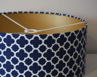 Handmade Drum Lamp shade covered in Navy Riley Blake Quatrefoil with choice of lining colour