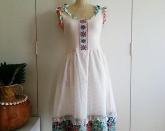 Upcycled Dress, Vintage Folk Princess Tea Party Dress, Handmade Upcycled Vintage Wearable Art - XS