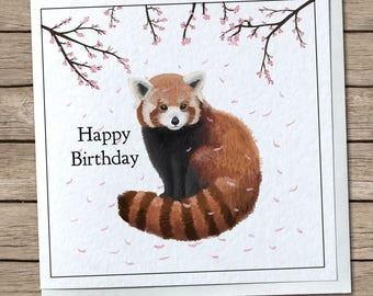 Red Panda Blossoms - Happy Birthday Greetings Card - Personalised/Custom Avaliable