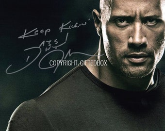 Limited Edition The Rock Wrestling Signed Photo + Cert PRINTED AUTOGRAPH