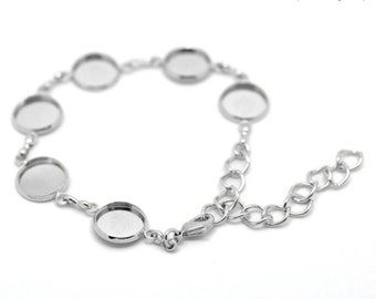 1 Round Cabochon Settings Bracelet Silver Tone, Fits 12mm cabochons,  Lobster Clasp With Extension Chain, 6888, 763