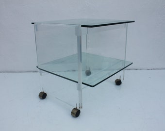Vintage Lucite And Glass Two Tier Bar Cart Or Side Table .