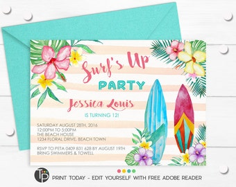 BEACH PARTY INVITATION, Instant Download, Girl Surfboard Invitation, Tropical Party Invitation, Surfboard invitations, Hawaiian Invitation