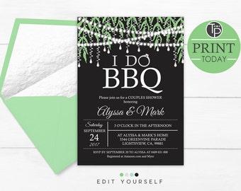 I DO BBQ Bridal Shower Invitation, Instant Download, BBQ Bridal Shower Invitation, Couples Bridal Shower Invitation, String Lights Bridal