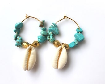 Turquoise shell earrings or gold - plated white boho