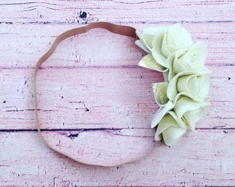 Vanilla Flower Crown, 100% Merino Wool Felt
