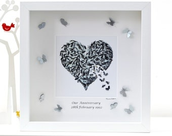Personalised Silver Wedding Anniversary Framed Print, Anniversary Butterfly Print, Silver Butterfly Print, Silver Heart Print