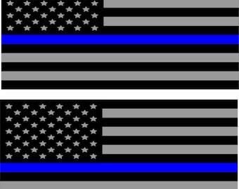2x Support Police USA Flag Blue Line 2nd Amendment 2A Sticker Decal Lives Matte