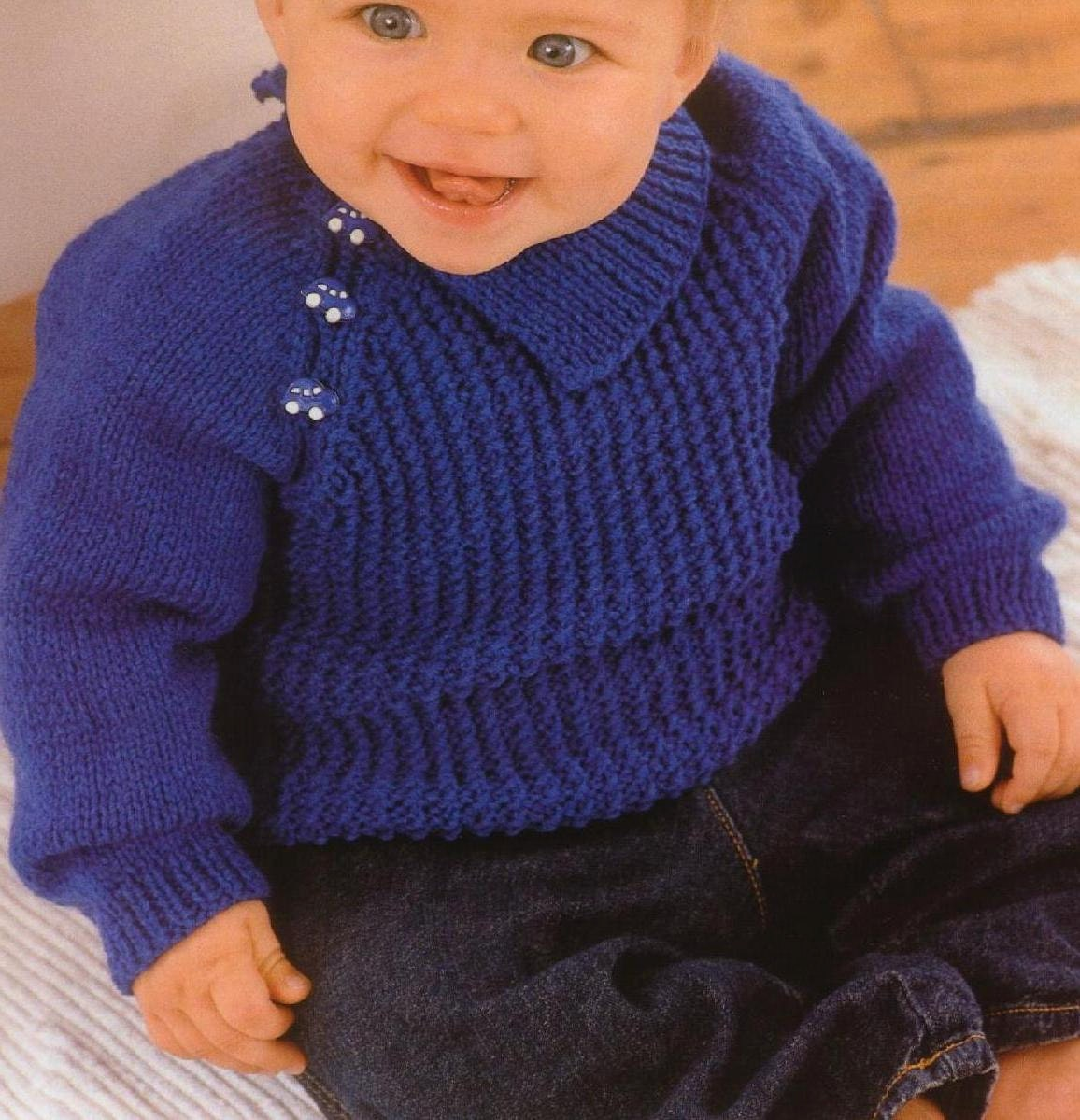 c3f59643315a Vintage Knitting Pattern PDF to make Baby Toddler A Plain or Stripe ...