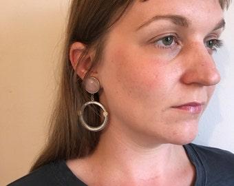 Vintage Silver & Rose Quartz Clip On Earrings - Large Round Dangle