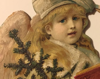 Antique German Die-Cut Angel Caroler