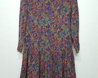Buy 2 get 1 free,Vintage 80s,Art dress, paisley dress, Summer dress, Day dress