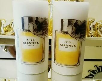 Designer Inspired Rose and gold Perfume bottle Glam Candle Set