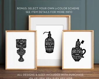 Bathroom wall decor, PRINTABLE ART, Gallery prints set of 3, Flush toilet sign, Wash hands sign, Brush teeth sign, Bathroom art, Bath decor