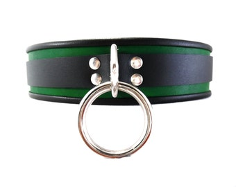 BDSM Collar Leather Slave Submissive Collar with Locking Buckle in Signature Green