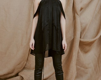 Black Sheer Top with an A-line Silhouette, Semi-transparent Blouse with a Classic Shirt Collar by ILMNE