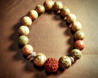 Unakite with Rudraksha Bead Bracelet
