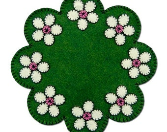 "Wool Kit -""Cherry Blossom Mat"" by Lumineries- Wool - Finished size 8.75"" round, pre cut kit, wool felt kit"