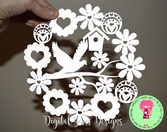 Dove and flower paper cut SVG / DXF / EPS files and a printable template for hand cutting. Digital download.