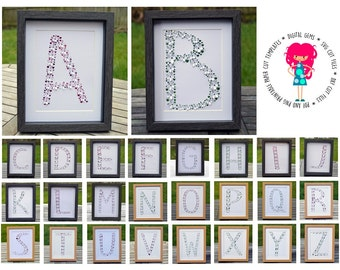 Full alphabet 3D paper cut svg files and pdf / png printable templates for hand cutting. Digital download.