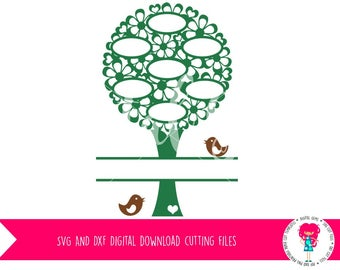 Family Tree Blank Tree SVG / DXF Cutting File For Cricut Design Space / Silhouette Studio & PNG Clipart, Digital Download, Commercial Use Ok
