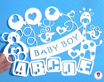 Baby Boy paper cut svg / dxf / eps / files and pdf / png printable templates for hand cutting. Digital download. Commercial use ok