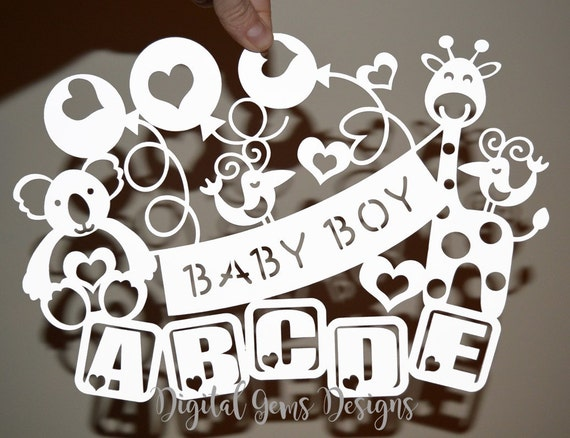 Boy Baby Papercut Template SVG / DXF Cutting File by ...