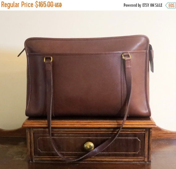 Football Days Sale Coach Shoulder Brief In Brown (Mahogany?) Leather With Brass Hardware Style No 5230- Made In United States - VGC